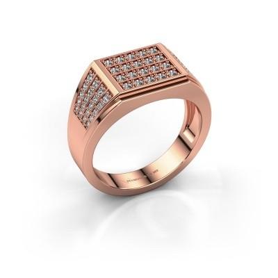Men's ring Tim 375 rose gold zirconia 1.5 mm