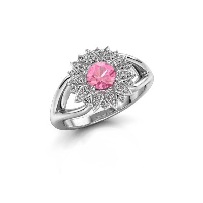 Foto van Verlovingsring Chasidy 1 585 witgoud roze saffier 5 mm