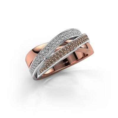 Foto van Ring Myra 585 rosé goud bruine diamant 0.50 crt