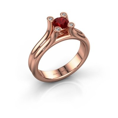 Belofte ring Stefanie 1 375 rosé goud robijn 5 mm