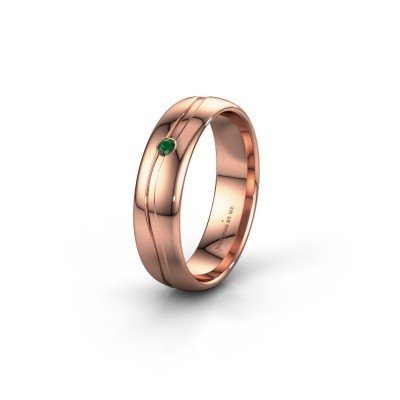 Wedding ring WH0905L35X 585 rose gold emerald ±5x1.7 mm