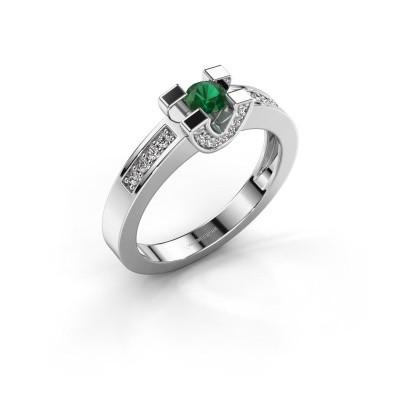 Verlovingsring Jasmijn 2 585 witgoud smaragd 4 mm