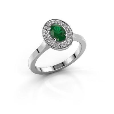 Foto van Ring Madelon 1 925 zilver smaragd 7x5 mm