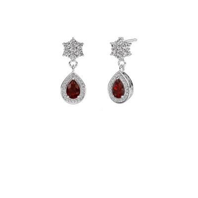 Drop earrings Era 375 white gold garnet 6x4 mm