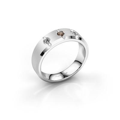 Foto van Heren ring Remco 375 witgoud rookkwarts 2.7 mm