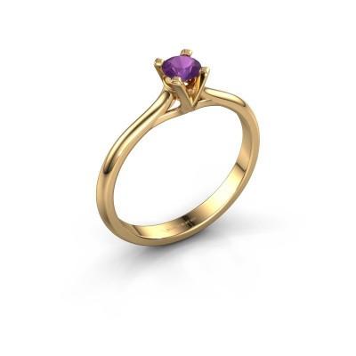 Foto van Verlovingsring Isa 1 375 goud amethist 4 mm