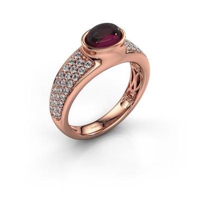 Ring Tatyana 375 rose gold rhodolite 7x5 mm