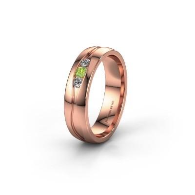 Trouwring WH0172L25A 375 rosé goud peridoot ±5x1.7 mm