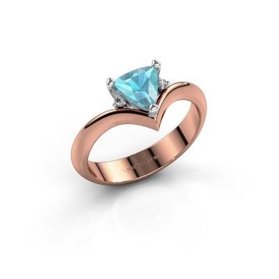 Foto van Ring Arlette 585 rosé goud blauw topaas 7 mm