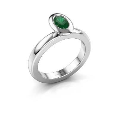 Stacking ring Trudy Oval 925 silver emerald 6x4 mm