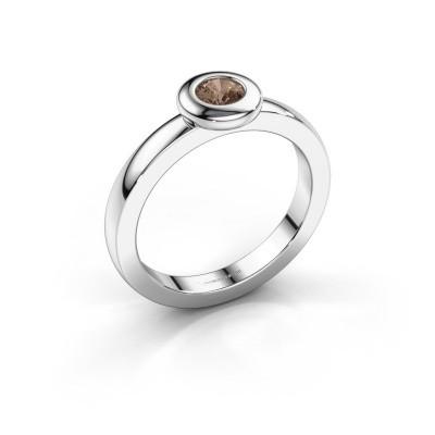 Bague Iris 925 argent diamant brun 0.25 crt