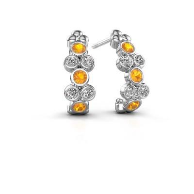 Earrings Kayleigh 585 white gold citrin 2.4 mm