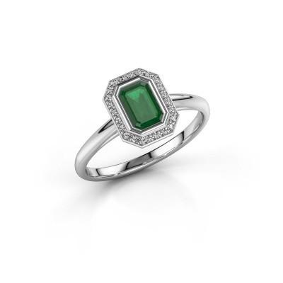 Verlovingsring Noud 1 EME 950 platina smaragd 6x4 mm