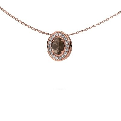 Ketting Madelon 375 rosé goud rookkwarts 6x4 mm