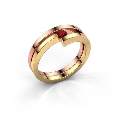 Foto van Ring Nikia 585 rosé goud robijn 3.4 mm