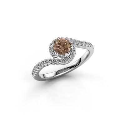Foto van Verlovingsring Elli 585 witgoud bruine diamant 0.753 crt
