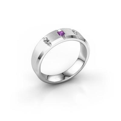 Foto van Mannen ring Justin 925 zilver amethist 2.5 mm
