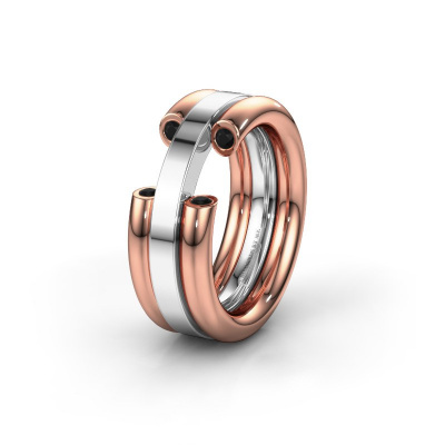 Ehering WH6018L 585 Roségold Schwarz Diamant ±8x3 mm