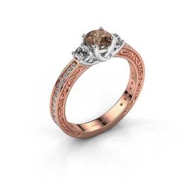 Verlovingsring Betty 2 585 rosé goud bruine diamant 0.957 crt