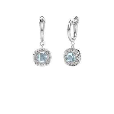 Drop earrings Marlotte 1 950 platinum aquamarine 5 mm