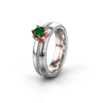 Huwelijksring WH0416L25E 585 rosé goud smaragd ±5x2.6 mm