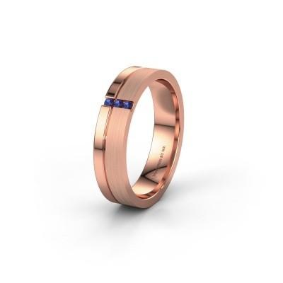 Trouwring WH0157L14XPM 375 rosé goud saffier ±4,5x1.4 mm