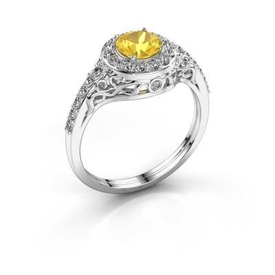 Ring Yurani 950 platina gele saffier 6 mm