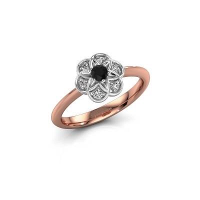 Verlovingsring Uma 585 rosé goud zwarte diamant 0.12 crt