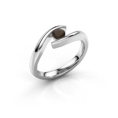 Engagement ring Alaina 925 silver smokey quartz 4 mm