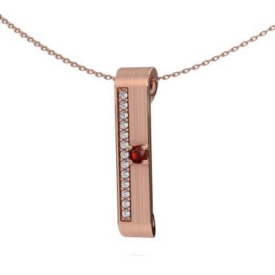 Halsketting Vicki 375 rosé goud granaat 3 mm