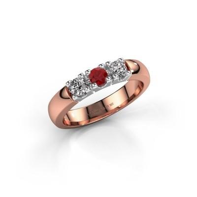 Foto van Verlovingsring Rianne 3 585 rosé goud robijn 3.4 mm