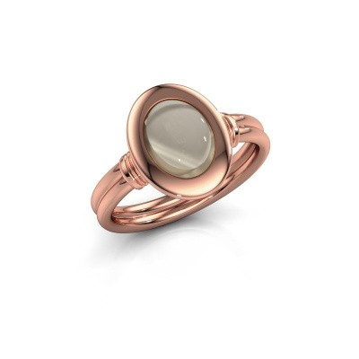 Photo de Bague Brittni 585 or rose quartz fumé 9x7 mm