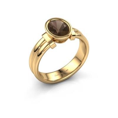 Ring Gerda 585 goud rookkwarts 8x6 mm