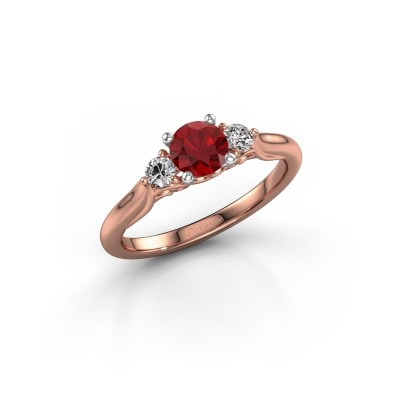 Picture of Engagement ring Laurian RND 585 rose gold ruby 5 mm