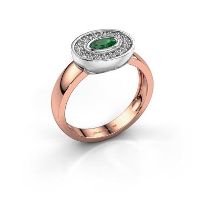 Ring Azra 585 Roségold Smaragd 5x3 mm