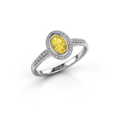 Engagement ring Noud 2 OVL 925 silver yellow sapphire 6x4 mm