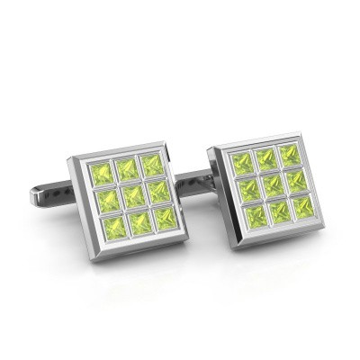 Picture of Cufflinks Clen 925 silver peridot 3 mm