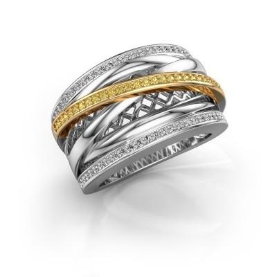 Foto van Ring Tabita 585 witgoud gele saffier 1 mm