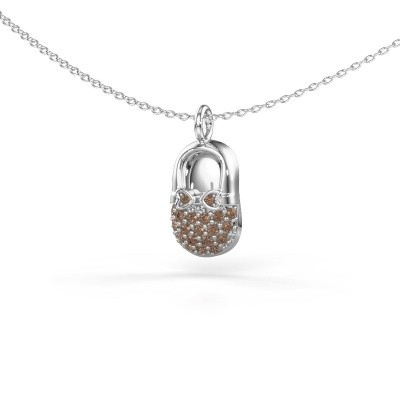 Pendentif Babyshoe 375 or blanc diamant brun 0.193 crt