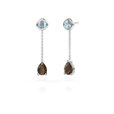 Picture of Drop earrings Laurie 3 950 platinum smokey quartz 7x5 mm