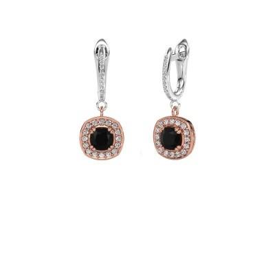 Oorhangers Marlotte 2 585 rosé goud zwarte diamant 1.565 crt