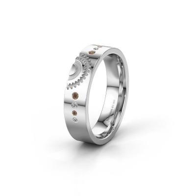 Foto van Trouwring WH2116L25A 375 witgoud bruine diamant ±5x1.7 mm