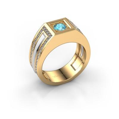 Foto van Heren ring Lando 585 goud blauw topaas 4.7 mm