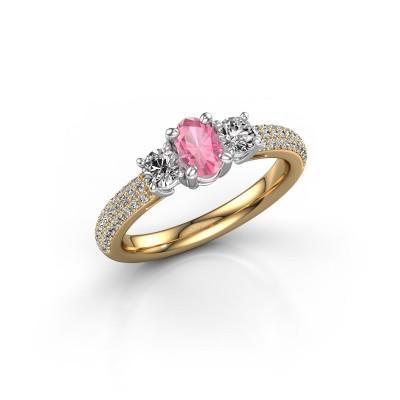 Foto van Verlovingsring Marielle OVL 585 goud roze saffier 6.5x4.5 mm