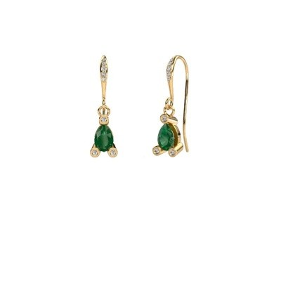 Drop earrings Bunny 2 585 gold emerald 7x5 mm