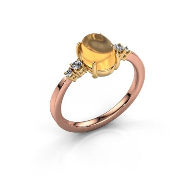 Ring Jelke 585 rosé goud citrien 8x6 mm