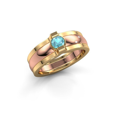 Ring Jade 585 Roségold Blau Topas 4 mm