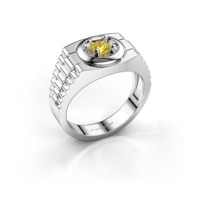 Foto van Heren ring Edward 585 witgoud gele saffier 4.7 mm