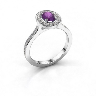 Ring Madelon 2 925 zilver amethist 7x5 mm