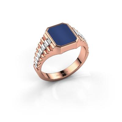Foto van Zegelring Brent 1 585 rosé goud lapis lazuli 10x8 mm